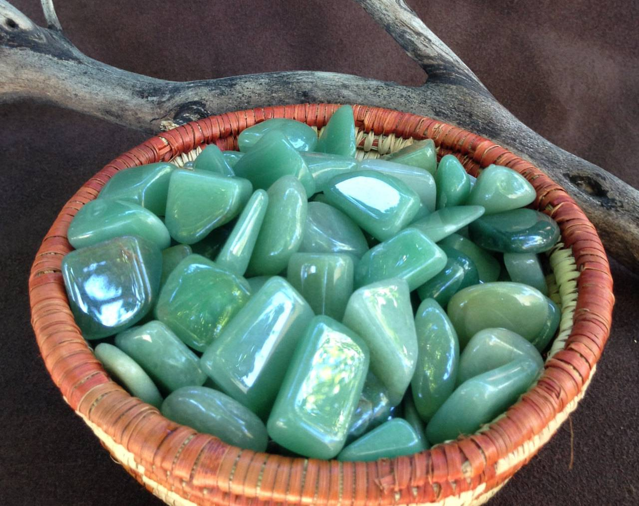 Green Aventurine pair of tumbled stones - The Growth and Abundance Stone - for prosperity & attraction of new people and resources
