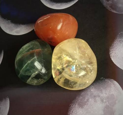Waxing Gibbous Moon Gemstone Trio