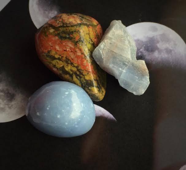 Waning Gibbous Moon Gemstone Trio