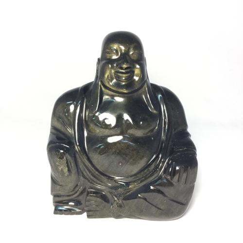 02 Breathtaking Huge Golden Sheen Obsidian Laughing Buddha
