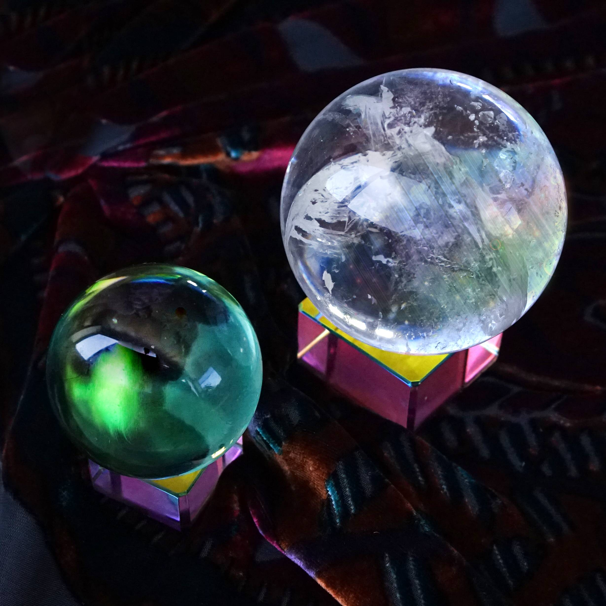 rainbow glass sphere stands