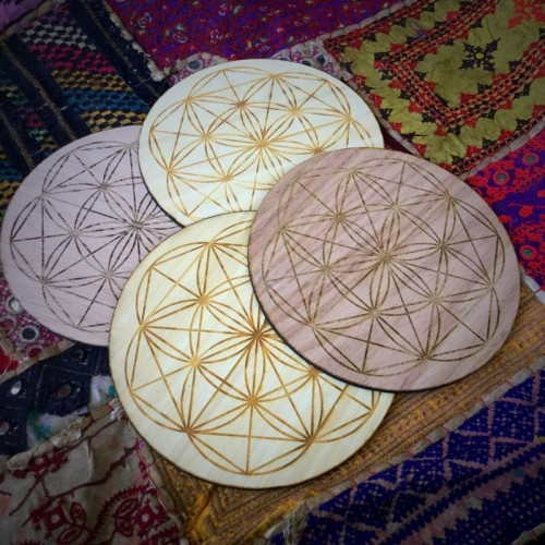 wooden flower of life grids