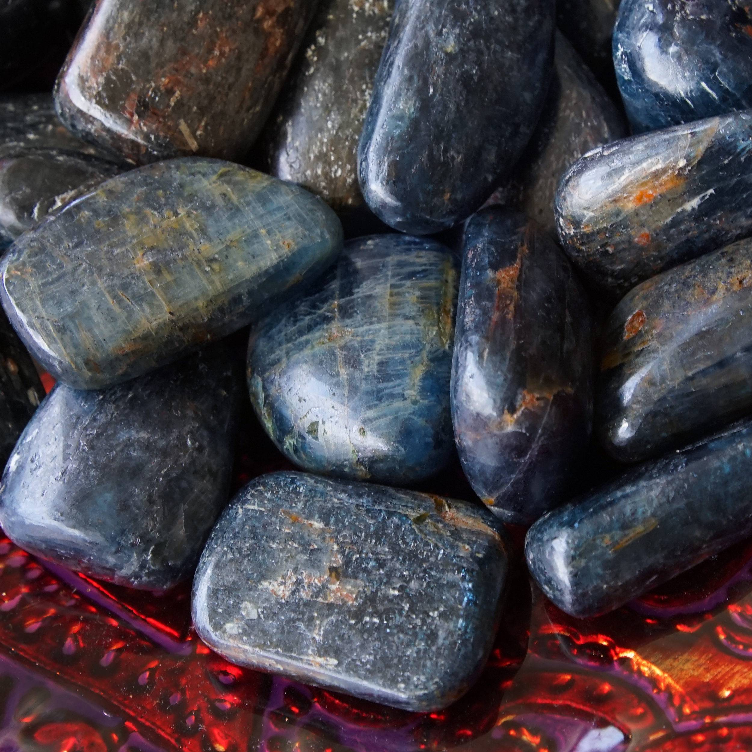 tumbled blue kyanite and black tourmaline