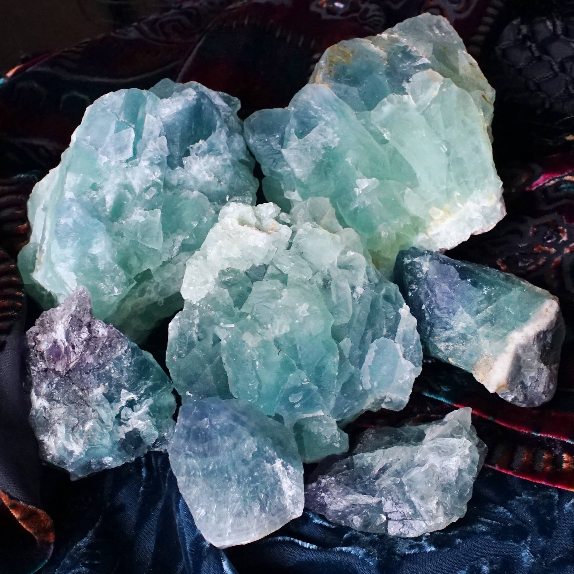 natural teal blue fluorite for acceptance and flow