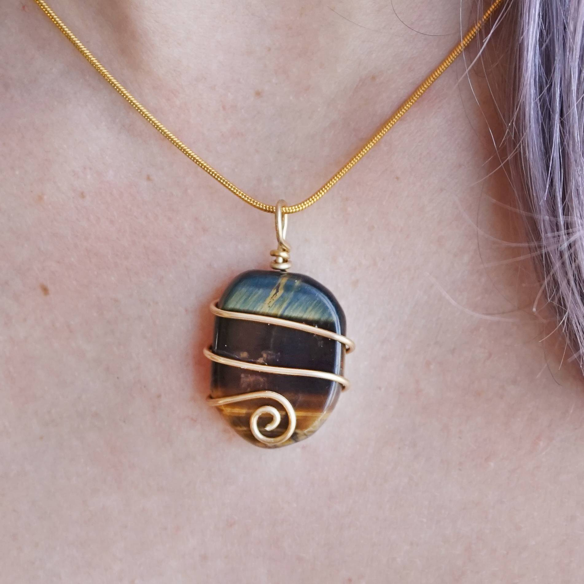 Wire wrapped tigers eye necklaces for wisdom and strength rated mozeypictures Gallery