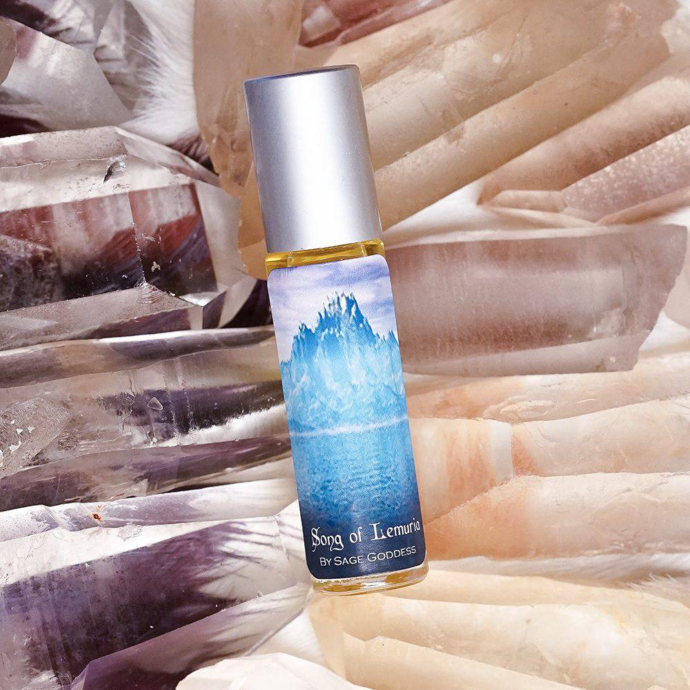 Lemurian seed quartz crystals with Song of Lemuria Perfume