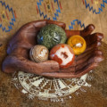 praying hands wooden altar bowls with spheres