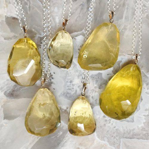 lemon quartz pendants