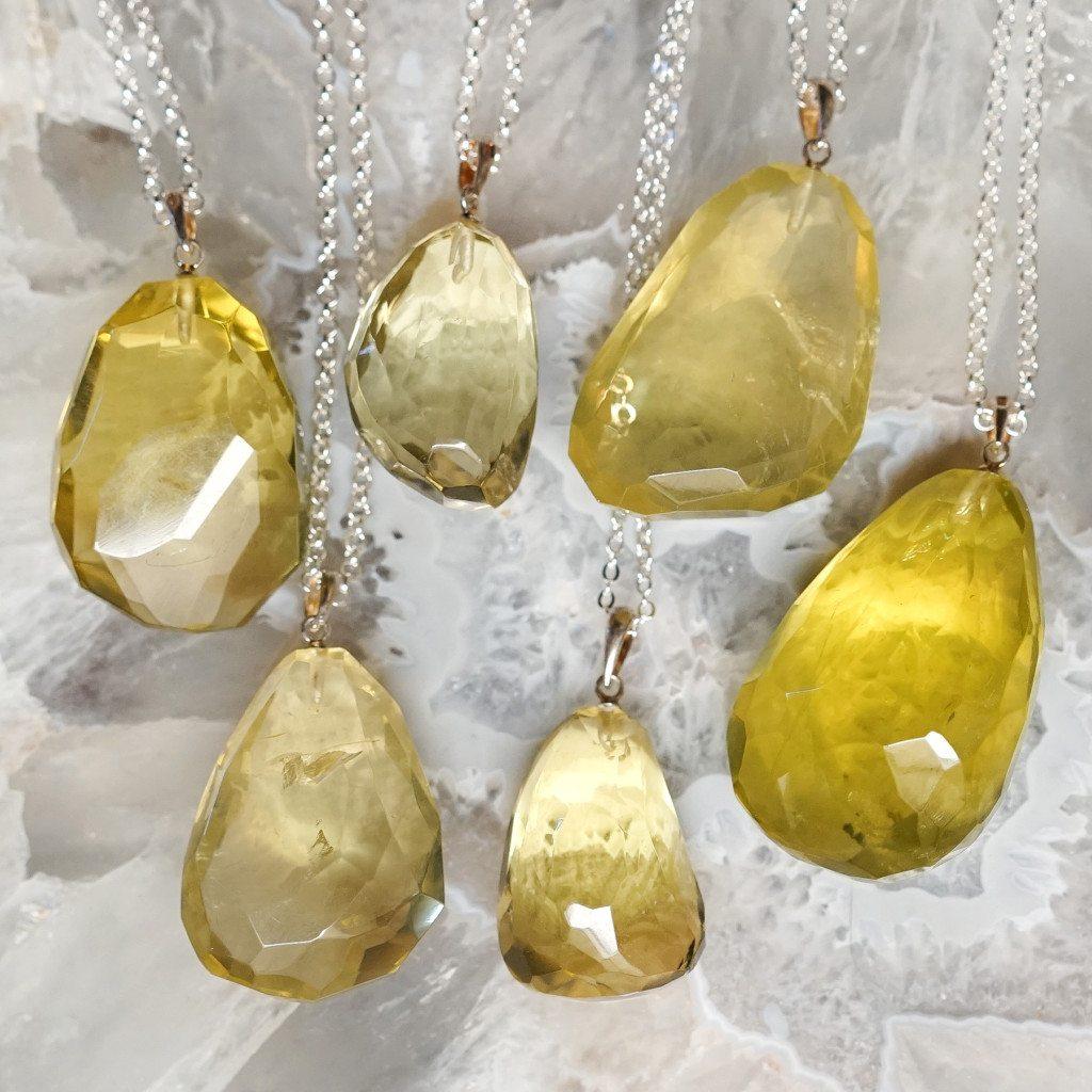Lemon quartz pendants for major golden ray willpower mozeypictures Images