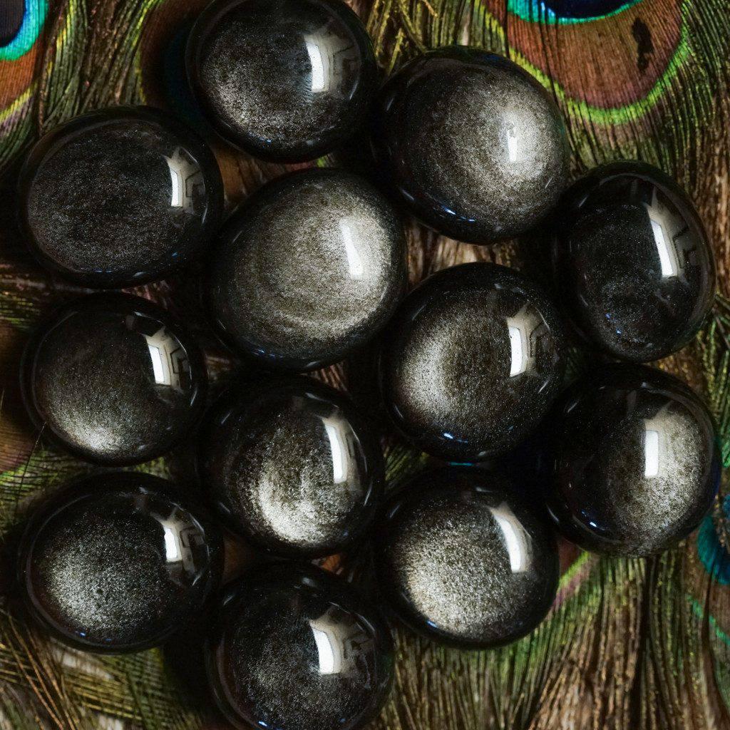 silver sheen obsidian gems