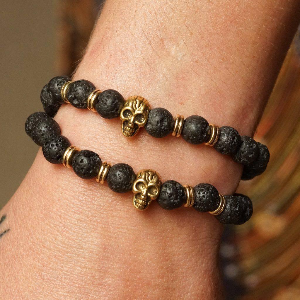 Lava Bead Skull Bracelets