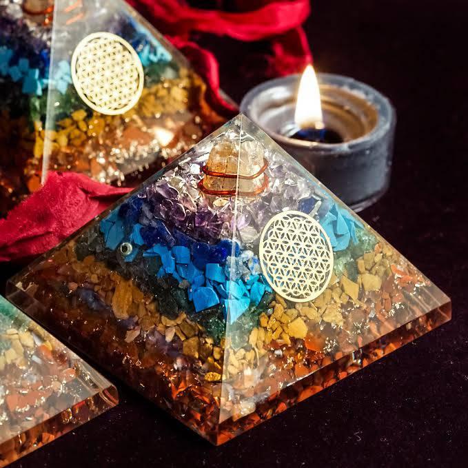 seven chakra orgonite pyramids