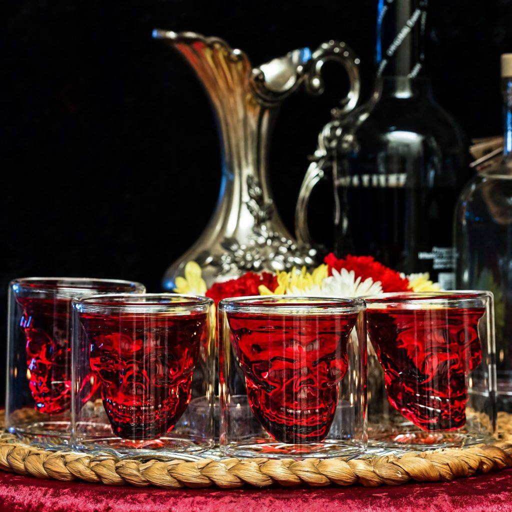 glass skull chalices