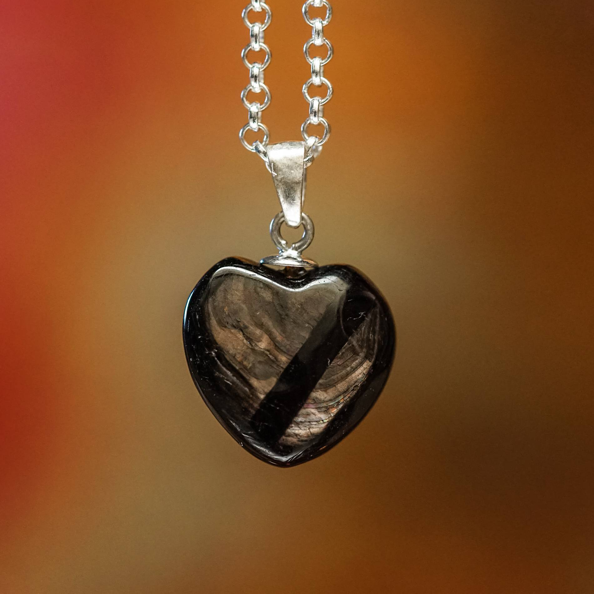 hypersthene heart necklaces