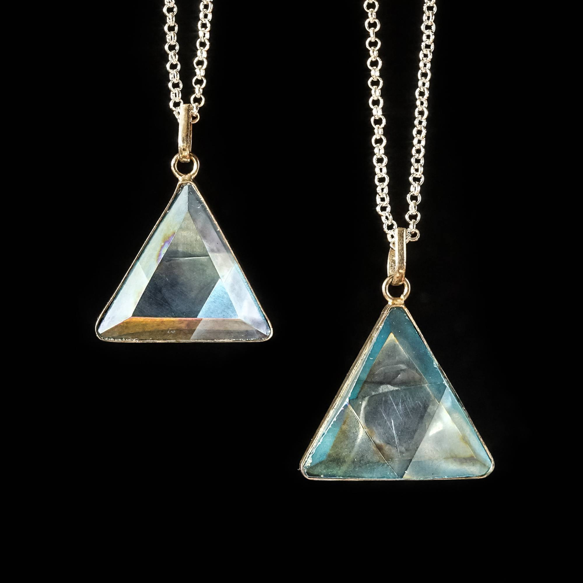 Aqua aura triangle lemurian quartz pendants for various intentions aqua aura triangle lemurian quartz pendants mozeypictures Image collections