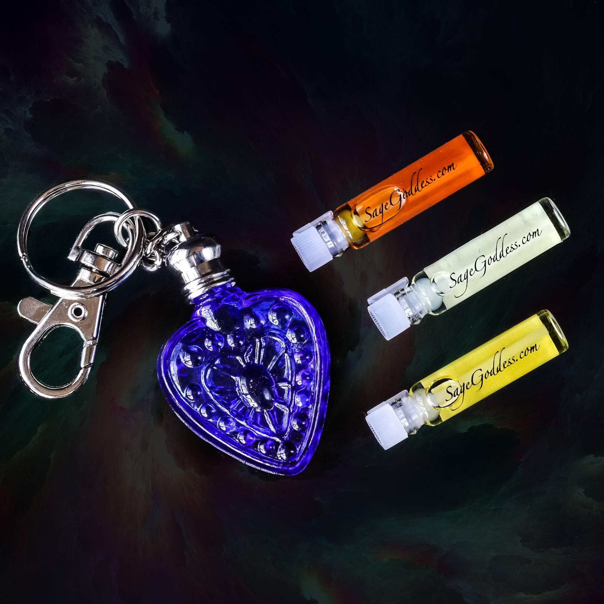 heart keychain perfume bottles