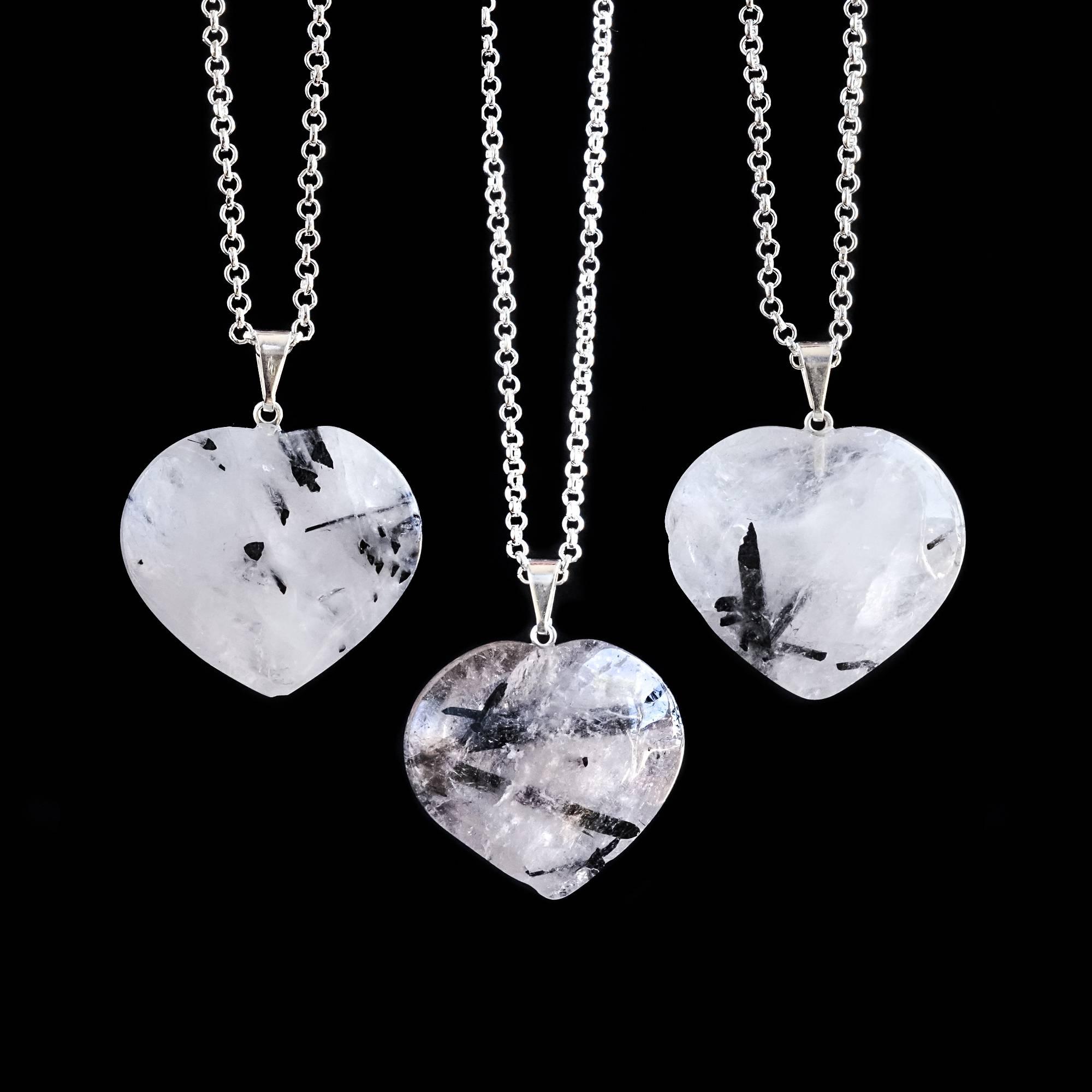 Tourmalinated quartz heart pendants for protection and white light tourmalinated quartz heart pendants aloadofball Image collections