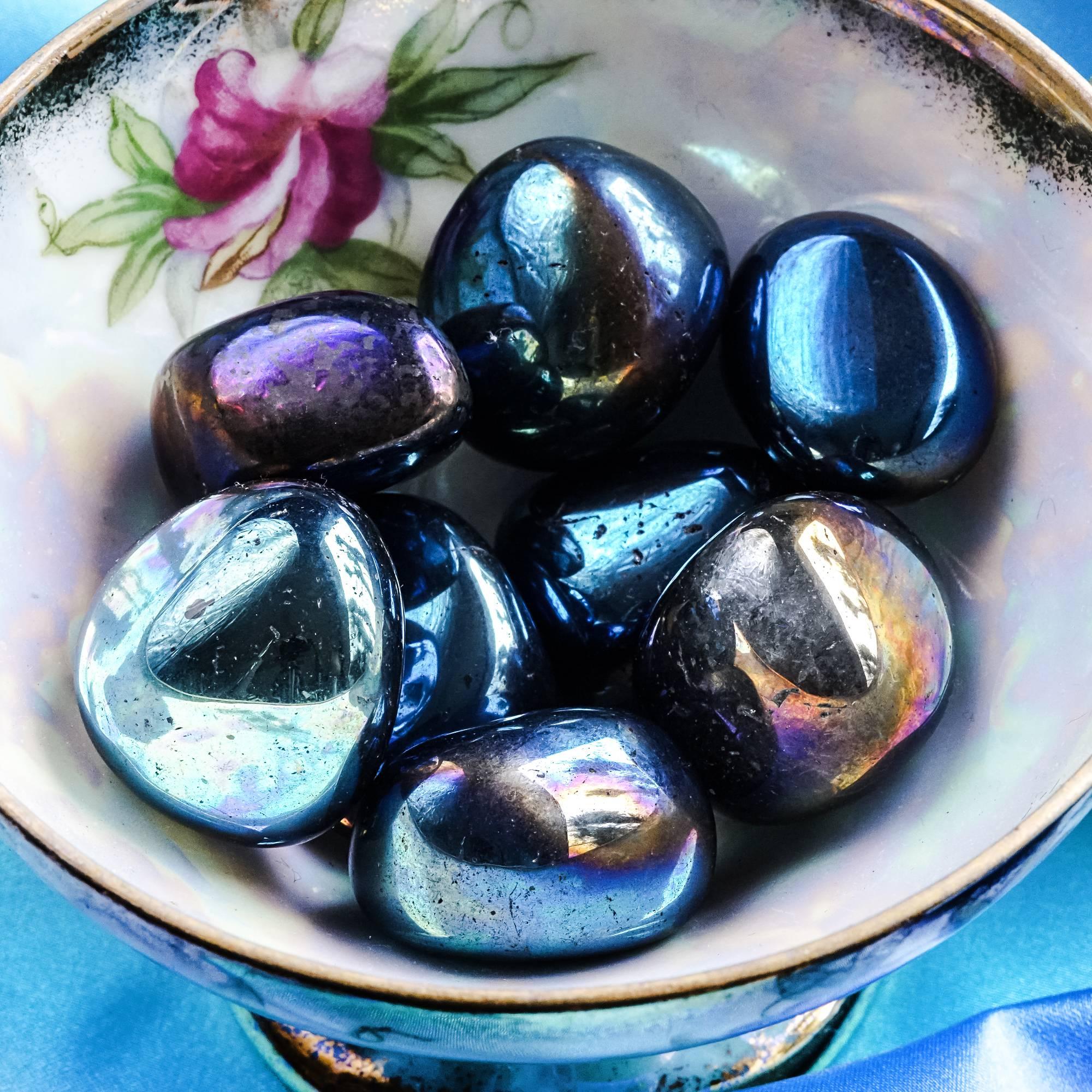 tumbled titanium aura quartz