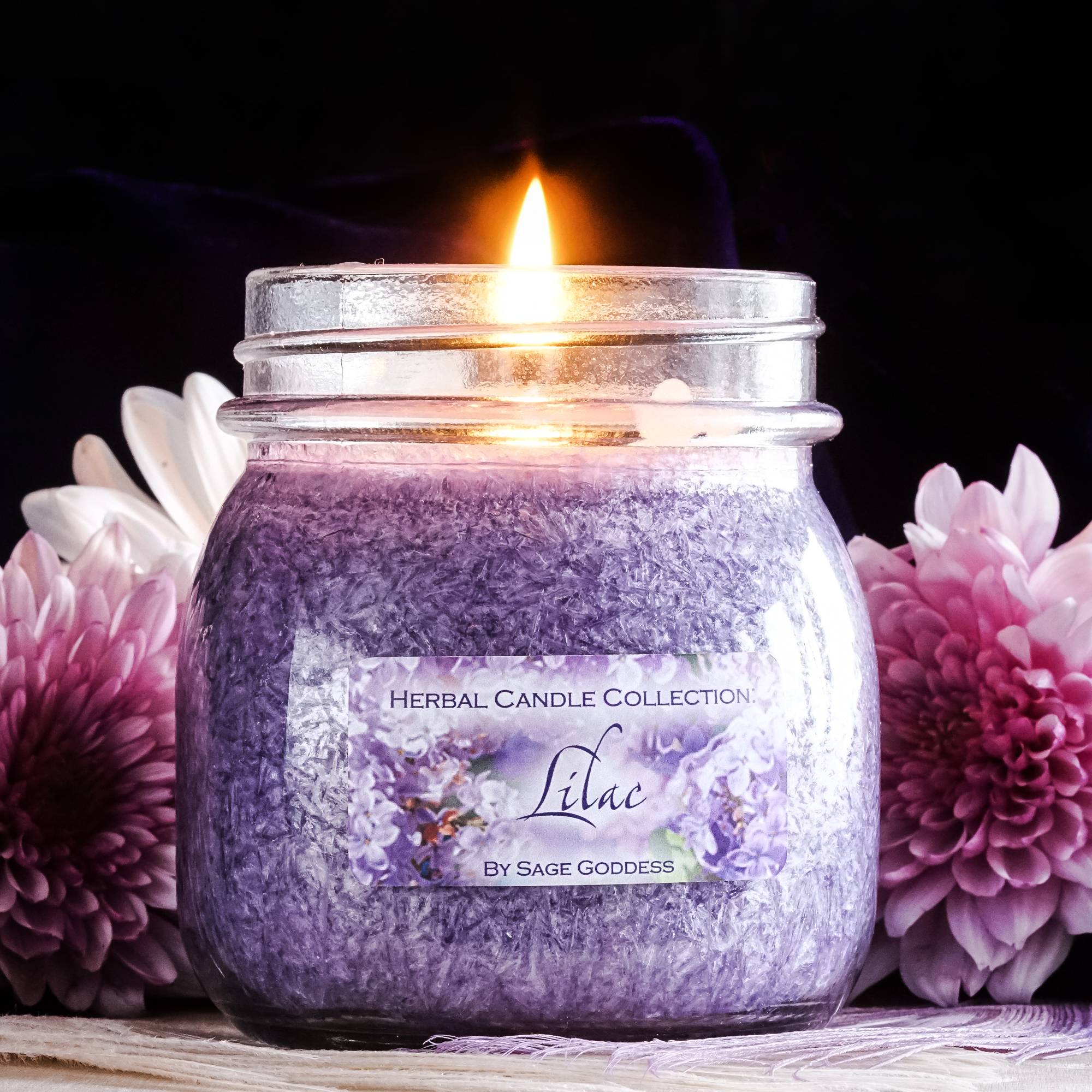 lilac herbal candle