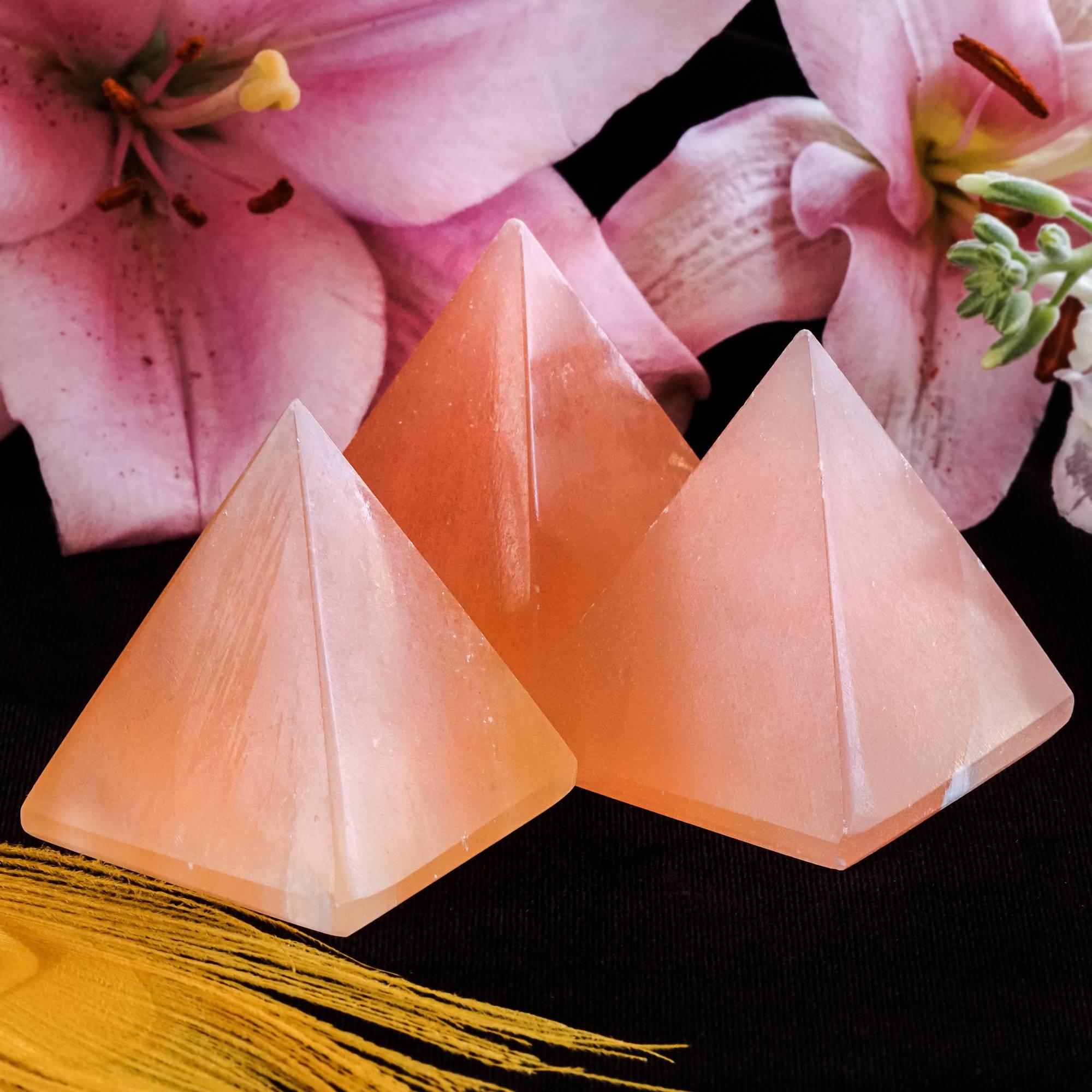 orange selenite pyramids