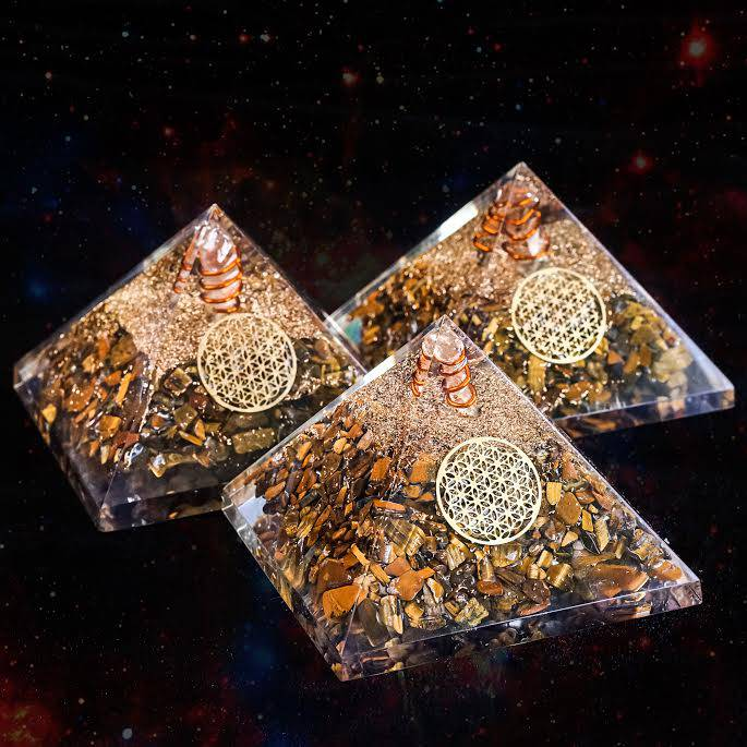 tigers eye orgonite pyramid gemstone magic