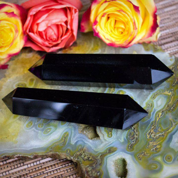 Double Terminated Black Obsidian Wands