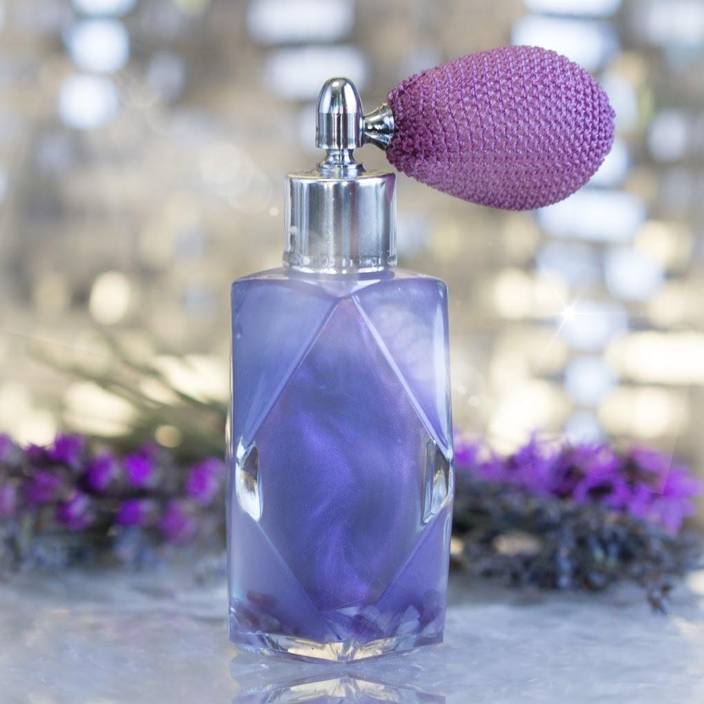 Amethyst Perfume & Faceted Diamond perfume bottle with Purple Atomizer V2