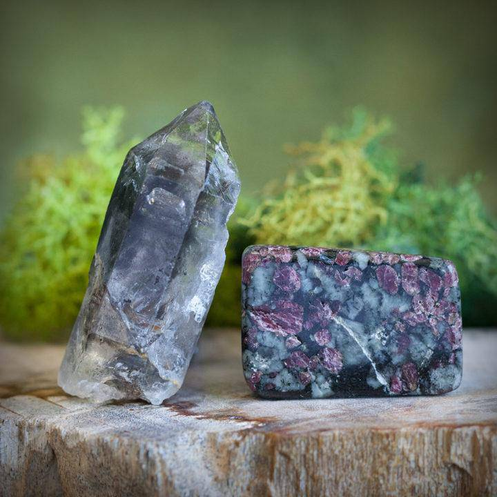 Central Nervous Healer Duo- Eudialyte flats and Tibetan Quartz Points