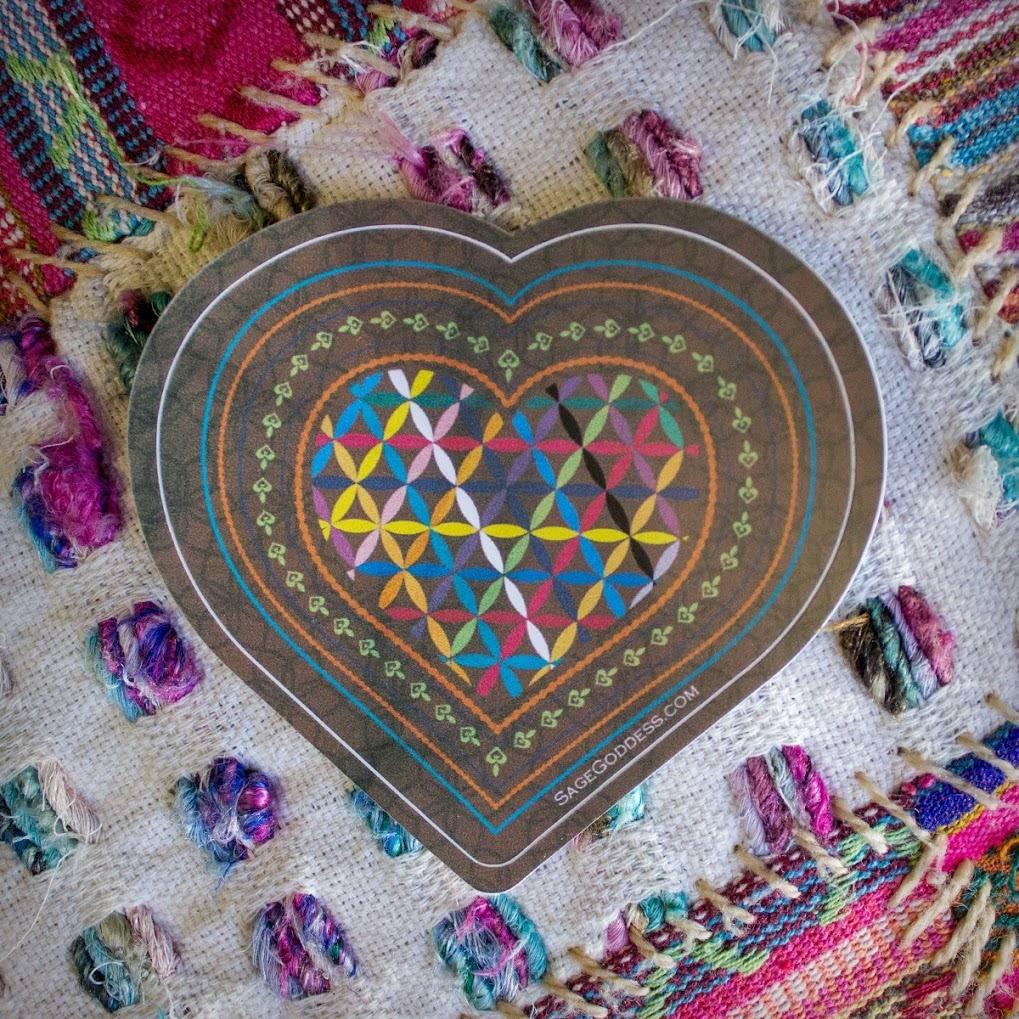 Sticker- Rainbow Flower of Life Hearts