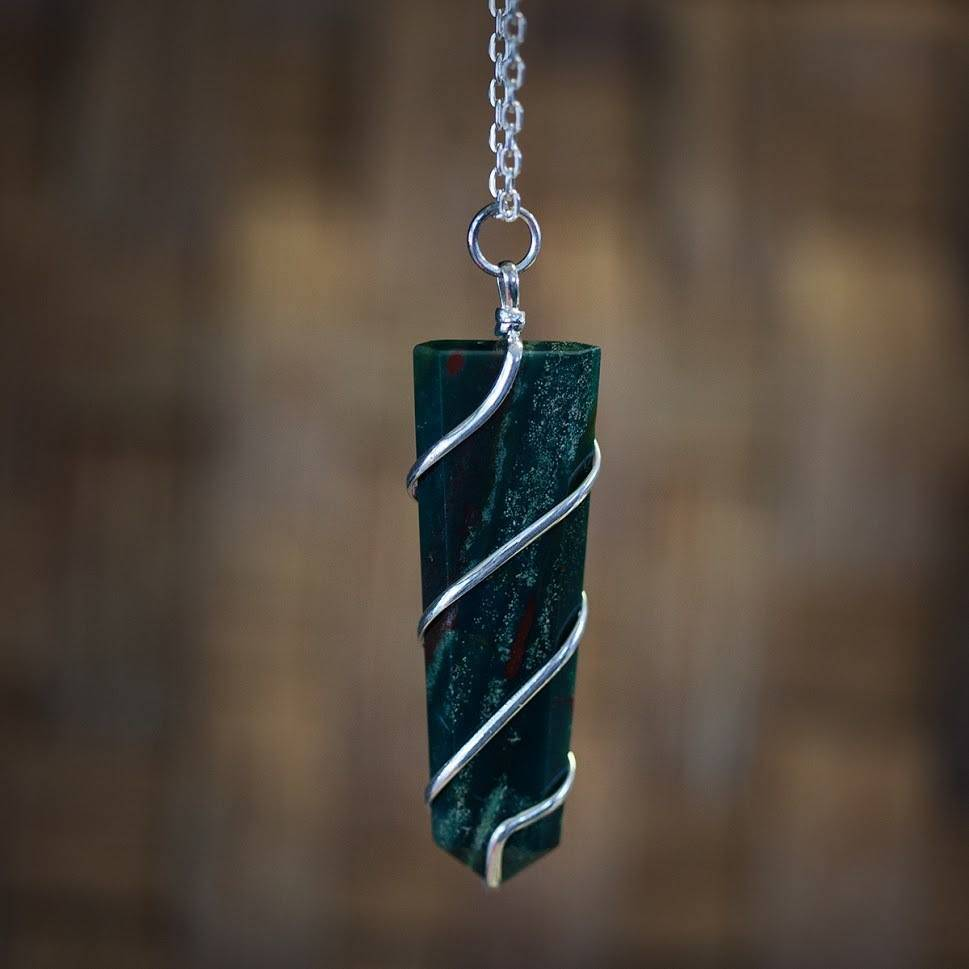 Bloodstone Wire Wrap Pendants for Personal Power