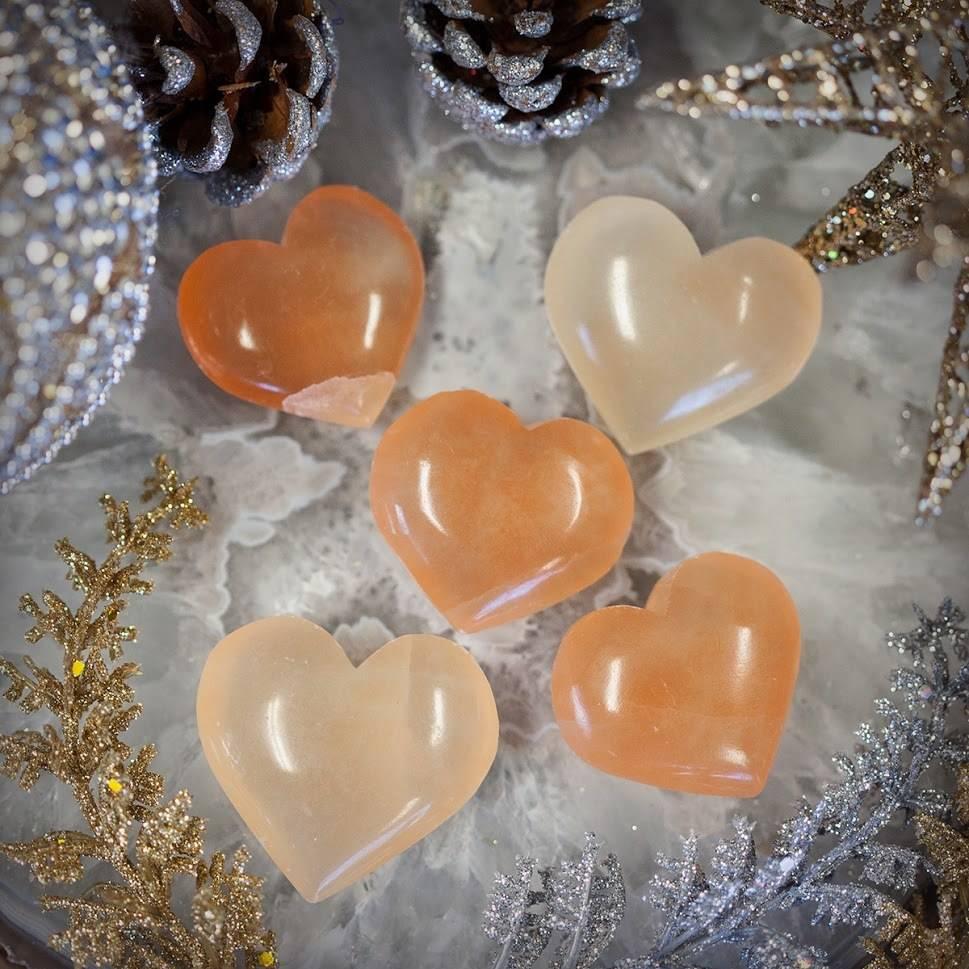 Gemmy Orange Selenite Heart
