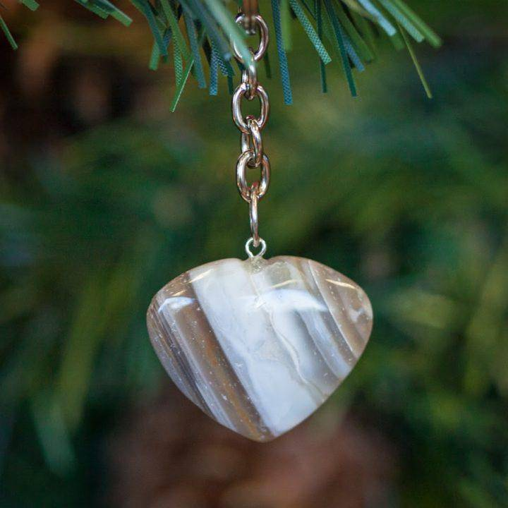 Agate Heart Keychain