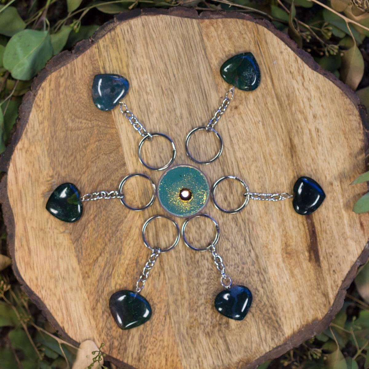 Moss Agate Heart Keychain 12_16