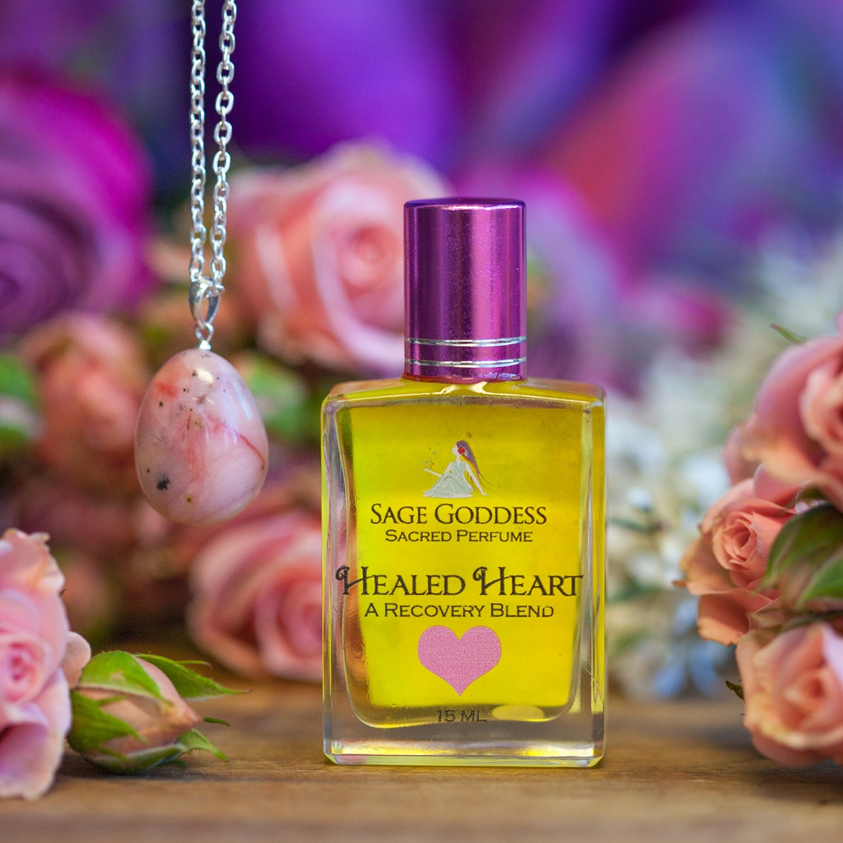 Healed Heart Perfume With Pink Opal Pendant For Activating Your