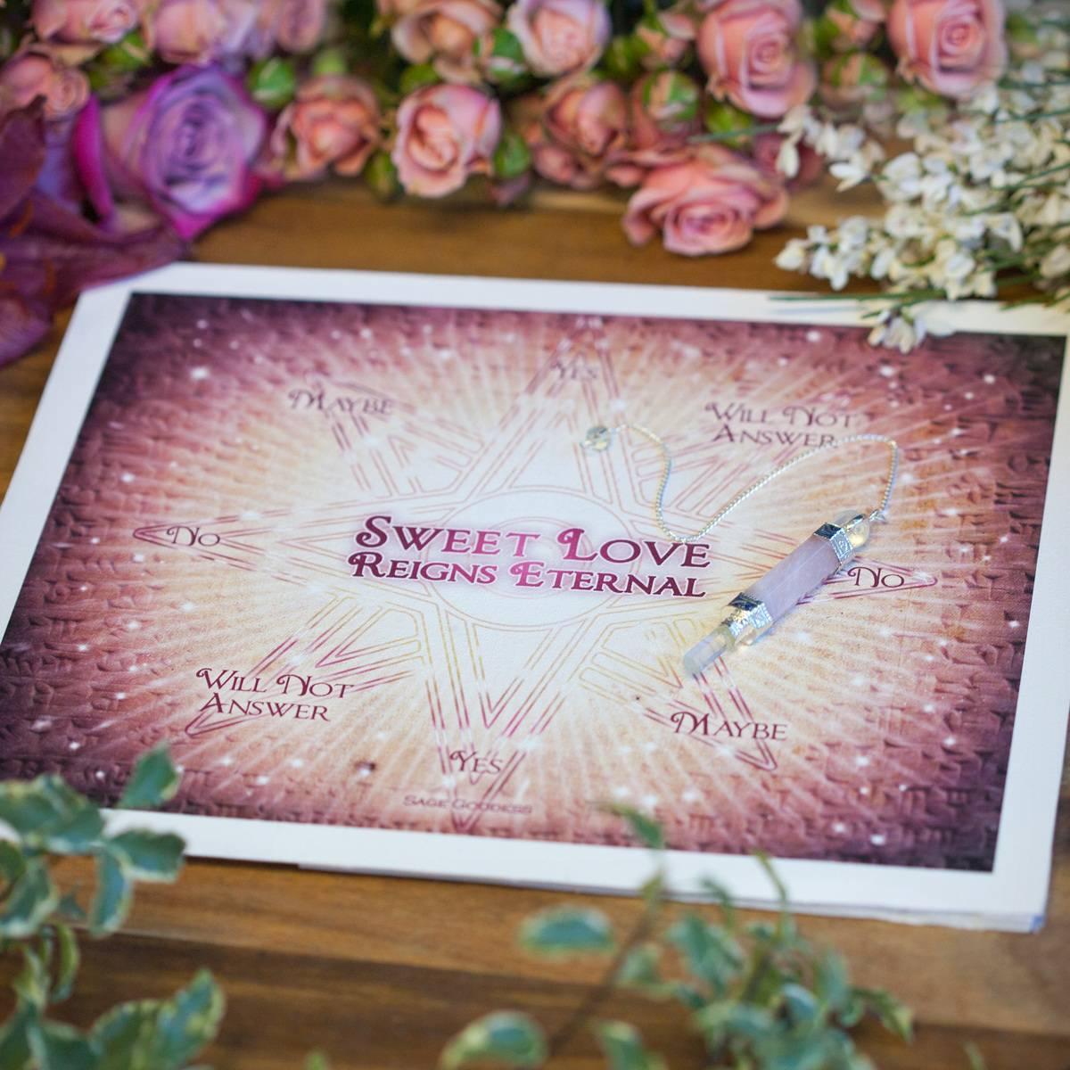 Sweet Love Reigns Eternal Pendulum Mat and Rose Quartz Pendulum 1_23