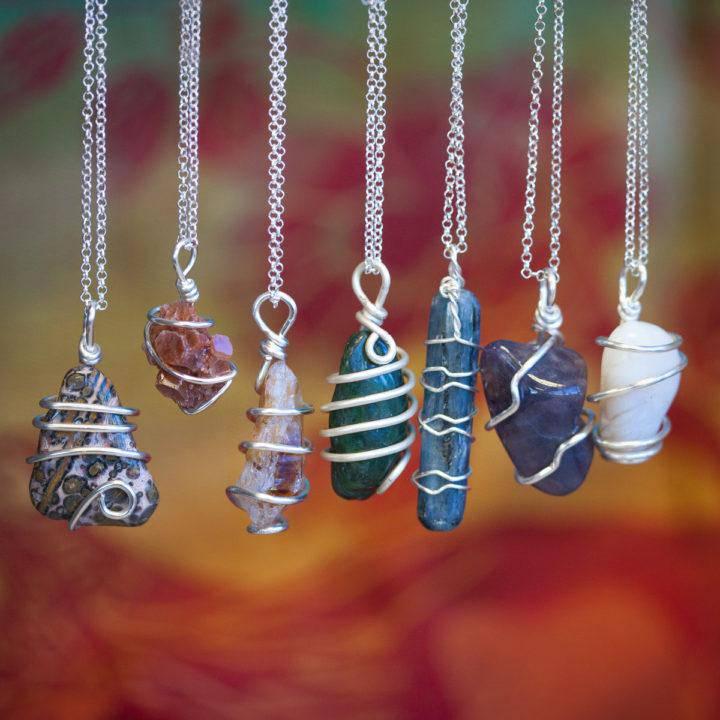 Chakra Stone Wire Wrap Necklace DD 2_17