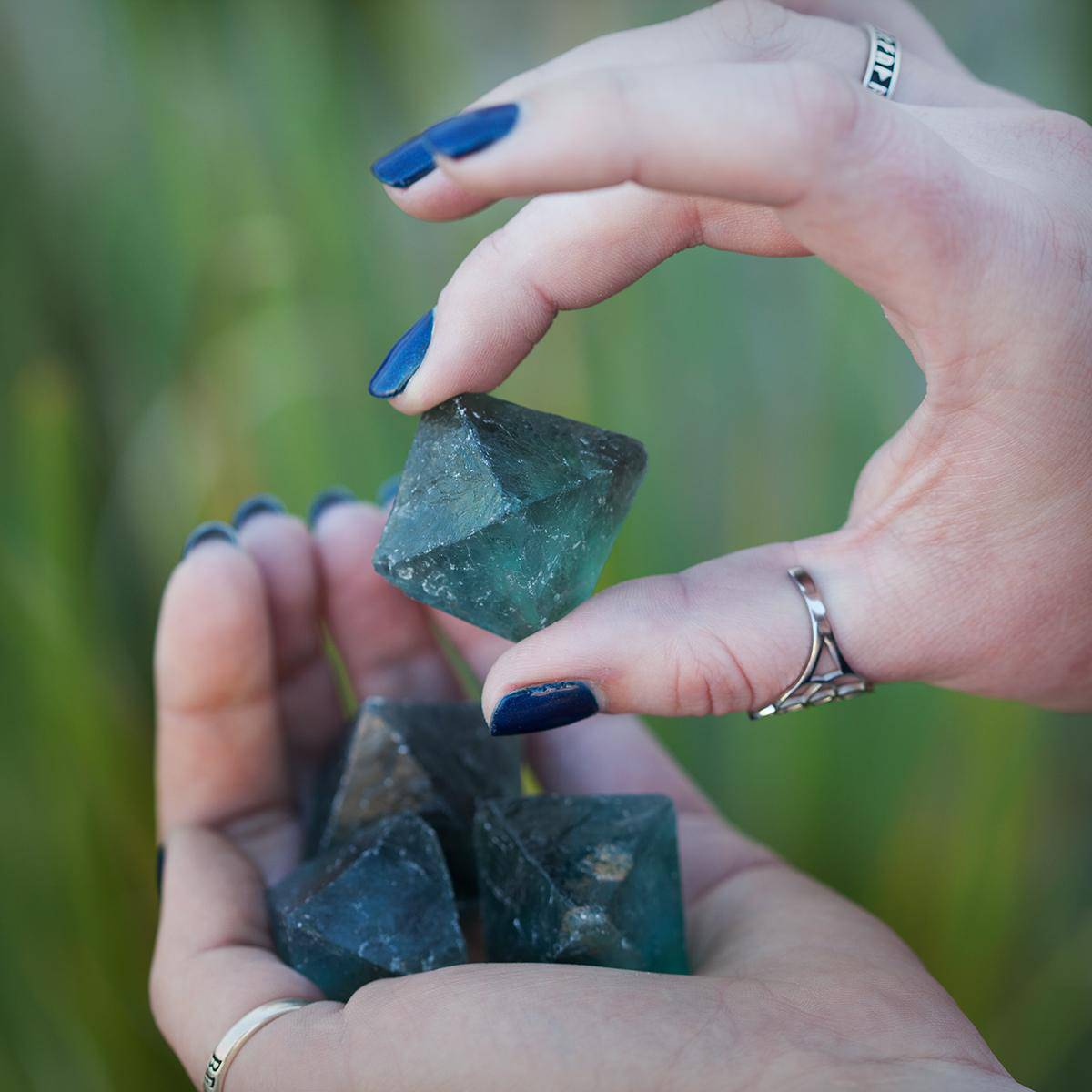 Large Natural Blue Green Fluorite Octahedron 2_12 Featured