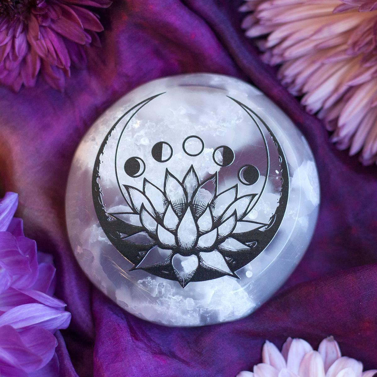 Lotus moon phase printed selenite for clarity and peace during all lotus moon phase printed selenite 223 izmirmasajfo