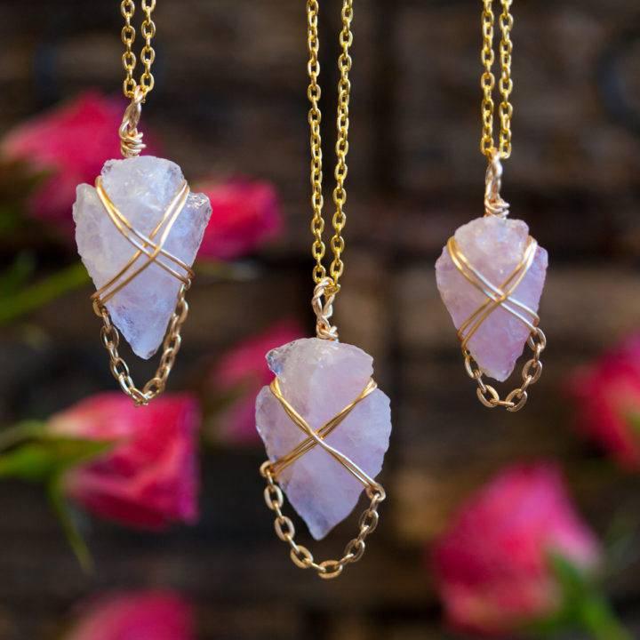 Wire Wrapped Rose Quartz Arrowheads 2_8