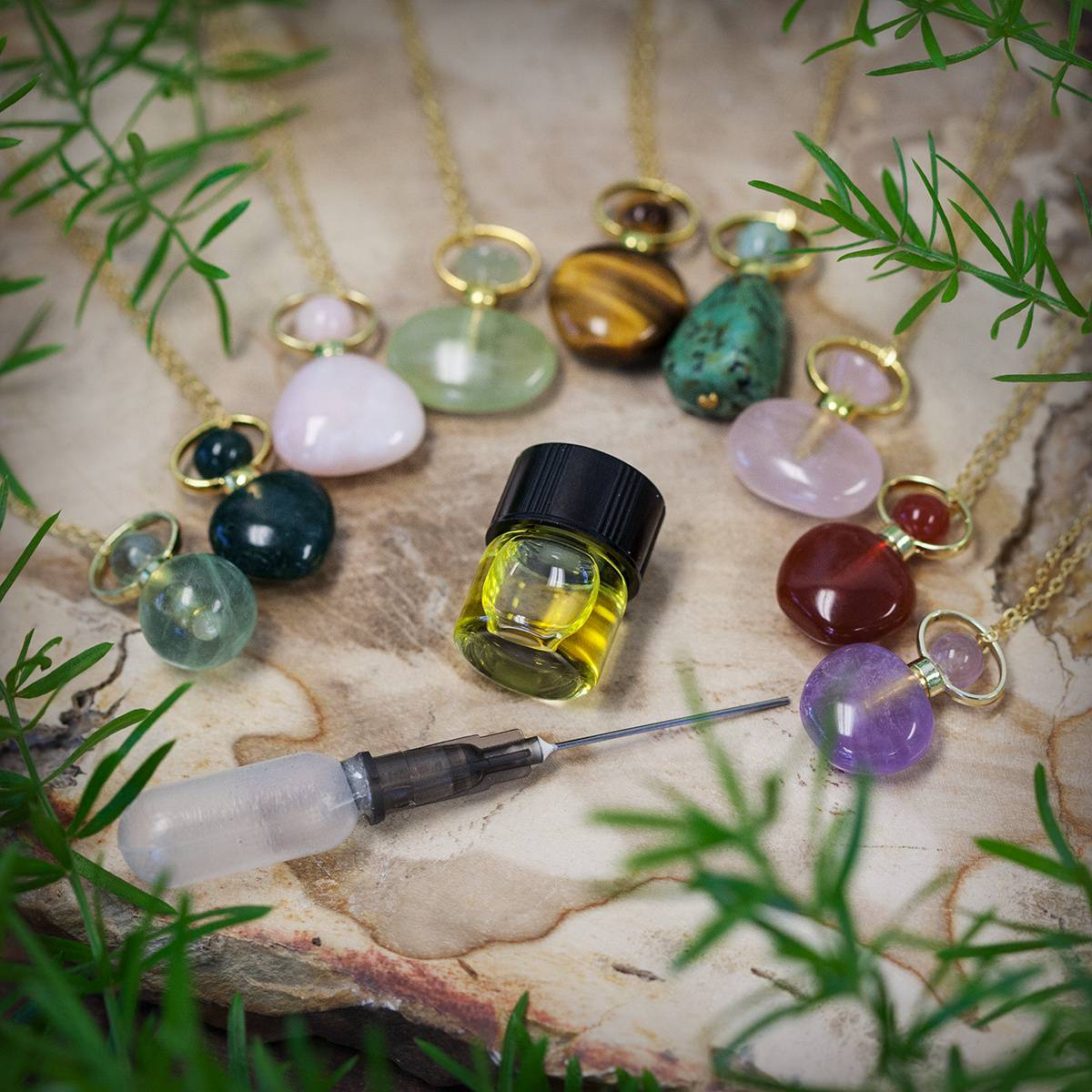 Gemstone Perfume Bottle Necklaces 3_31
