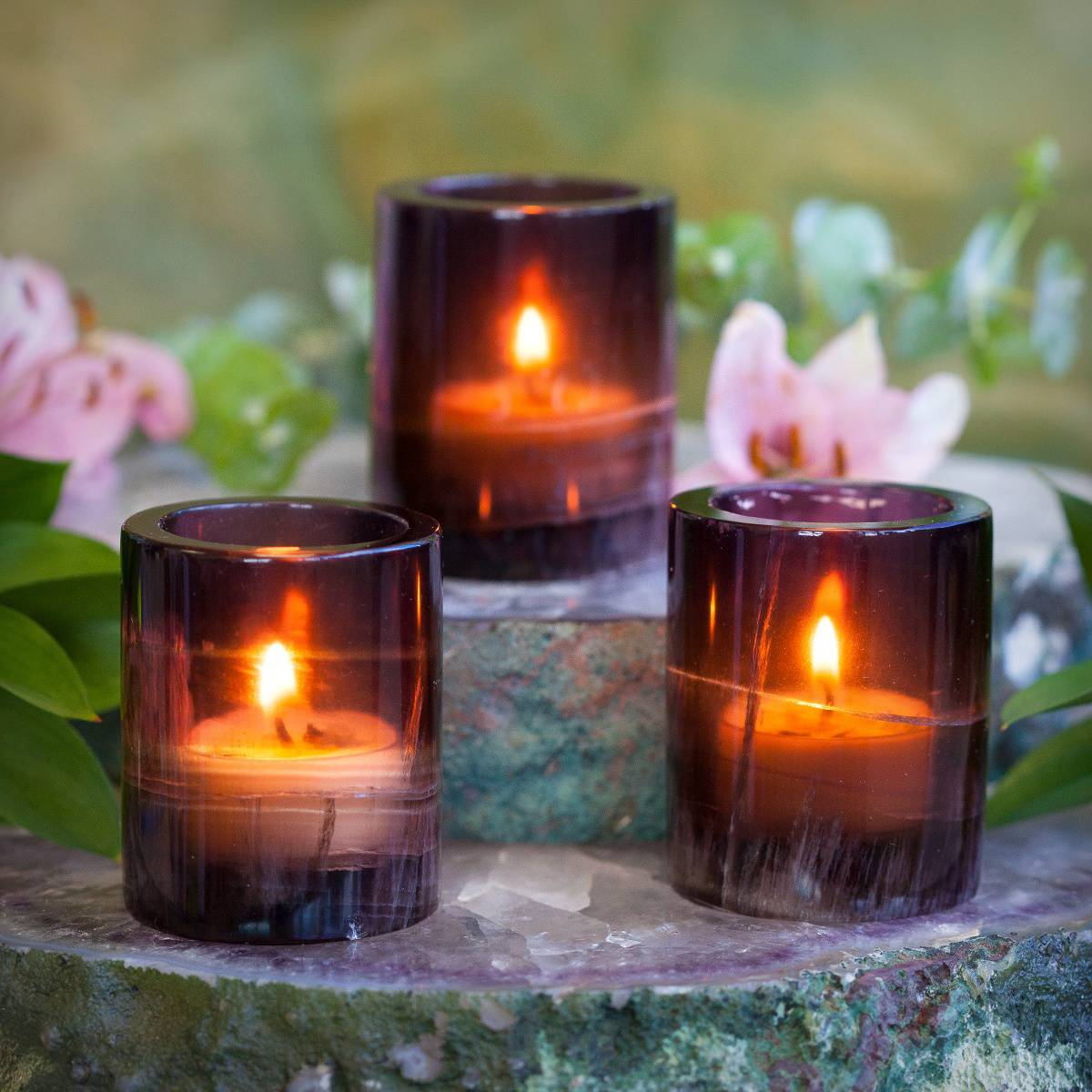 Purple Fluorite Tea Light Holders For Peace Deepened Intuition And Spirit Realm Connection