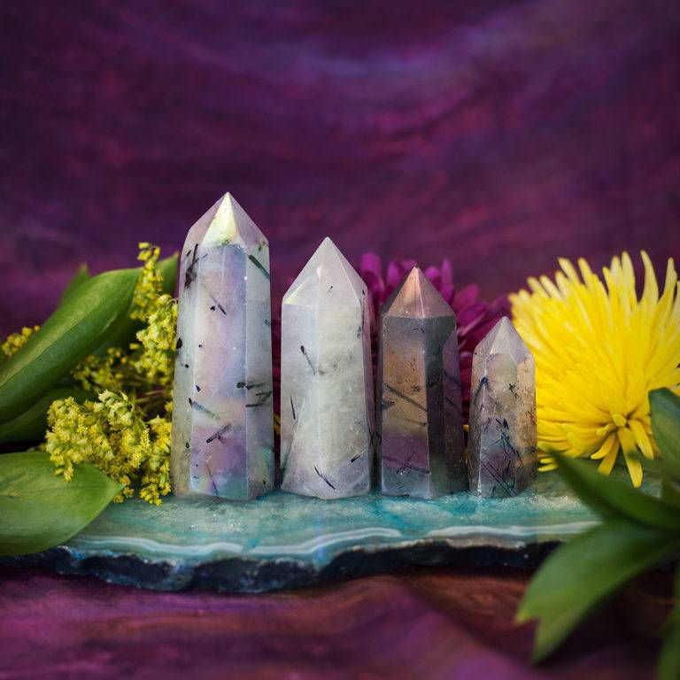 Tourmalinated Opal Aura Quartz Generators for calling in your spirit guides and powerful past life connection