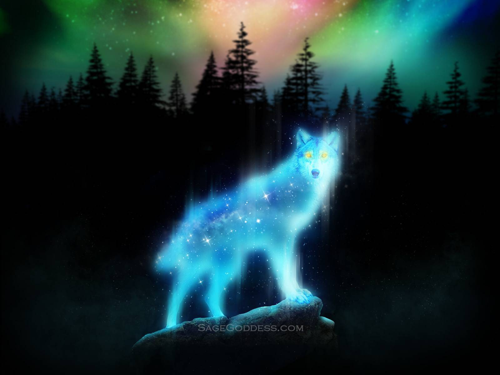 Free Custom Sage Goddess Downloadable Wolf Spirit Animal Wallpaper