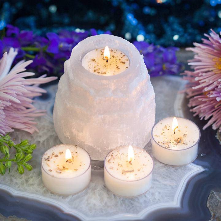 Selenite Candle Holder with Ceremony Tea Lights 6_22 Primary