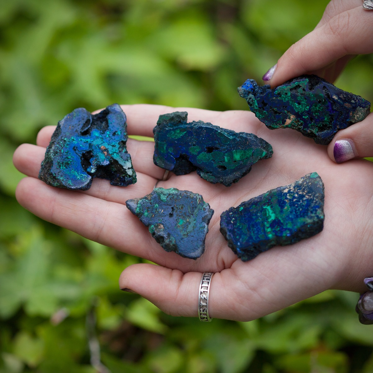 Azurite with Malachite Charging Plates for insight, willpower, and healing
