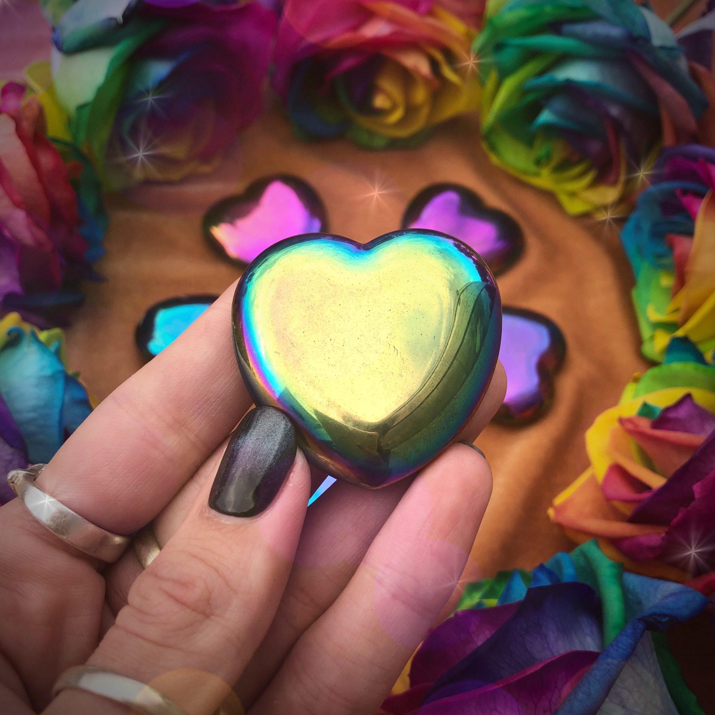 Titanium Aura Hematite Hearts For Root To Crown Chakra Healing