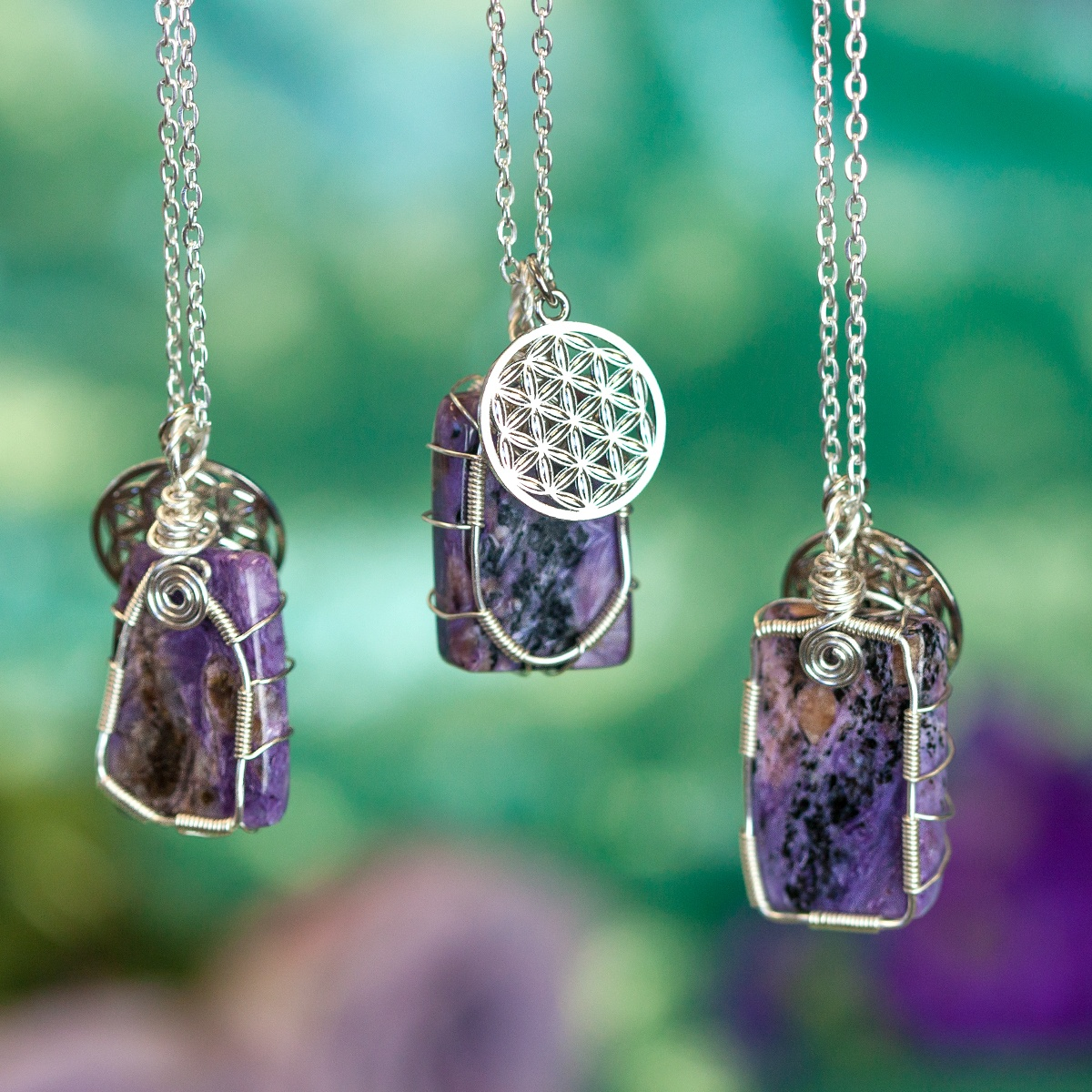 Charoite Wire Wrap for protection, healing, and connection to past lives